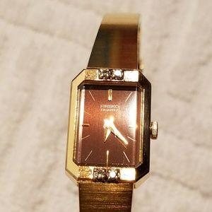 Vintage Seiko Gold Plated Diamond Watch Women
